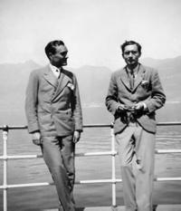 Philip Johnson and Alfred Barr, Lake Maggiore, Switzerland, April 1933.  ©The Museum of Modern Art/Licensed by SCALA/Art Resource, New York