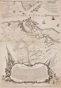 Plan of the Investment of York and Gloucester Surveyed by Sebastian Bauman; Engraved by Robert Scot Philadelphia, Pennsylvania, 1782 Black and white line engraving with period color Gift of Virginia Cartographical Society.  2017-238