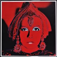 Original screenprint depiction of screen siren Greta Garbo as the legendary traitor Mata Hari by pop art icon Andy Warhol.