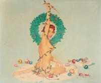 "From the collection of the late Americana collector Charles E.  Sigety comes Al Brule (1917-2001), pin-up illustration painting (est $1,5/2,500), ""Christmas Eve,, oil on artist board, signed lower left ""Brule,"" 19 ½ by 23 ½ inches (sight), 23 by 26 ¾ inches (framed)"