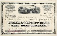 Stock certificate for 75 shares for the Eureka & Colorado River Rail Road Company (Nev.), issued to a Hiram Johnson, dated May 17, 1882, with a nice train vignette (est.  $500-$1,000).