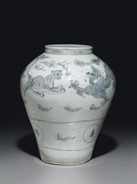 An Important Blue and White Porcelain Jar with Dragons and Tigers, Joseon Dynasty (18th century)