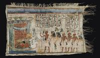 AN EGYPTIAN PAINTED VOTIVE LINEN circa 1300-1200 B.C.