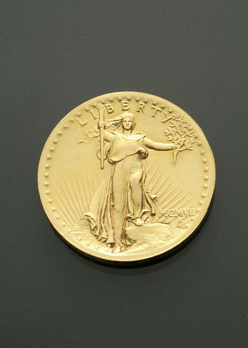 U.S.  St.  Gaudens High Relief Twenty-Dollar Gold Coin, dated 1907