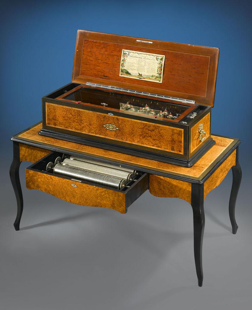 music antique box boxes swiss table cylinder walnut antiques harmonie matching piano case victorian rare ears sublime musical melodious burl