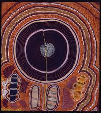 Shorty Lungkarta Tjungurrayi (1920–1987), Mystery Sand Mosaic, November 1974.  Synthetic polymer paint on canvas board, 19 15/16 x 17 3/4 inches.  Collection of John and Barbara Wilkerson.  © Estate of the artist licensed by Aboriginal Artists Agency Ltd.