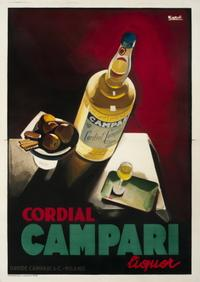Marcello Nizzoli, Cordial Campari, 1926.  Nizzoli used the language of Cubism to create a handsome still-life of Campari and a seltzer bottle for the leading Italian aperitif wine.