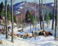 "Aldro T.  Hibbard, Log Team, Vermont, ca.  1930, oil on canvas, 40"" x 50"""