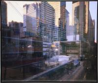 "One of several Michael Wesely color print photos in steel frames, titled ""The Museum of Modern Art MOMA in New York City under Construction,"" written by Wesely across the bottom."