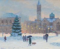 SAM VOKEY, American (b.  1963), View of Copley Square, oil on canvas, signed, 20 x 24 inches, Est: $1,500 - $2,500