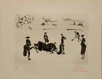 One of several aquatints by Pablo Picasso -- rare examples from an original set of 12 copies (#3 of 12), of La Tauromaquia: Muerte del Toro, hand-signed and numbered by Picasso.