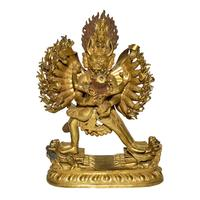 Lot, 213 is a 35-arm Tibetan gilt bronze deity in the form of Vajrabhairava Yamantaka with Consort.  The multiple arms used for fighting off cosmic forces are comprised of moveable parts.  It is of the Qing Dynasty, 9 1/2 inches tall.