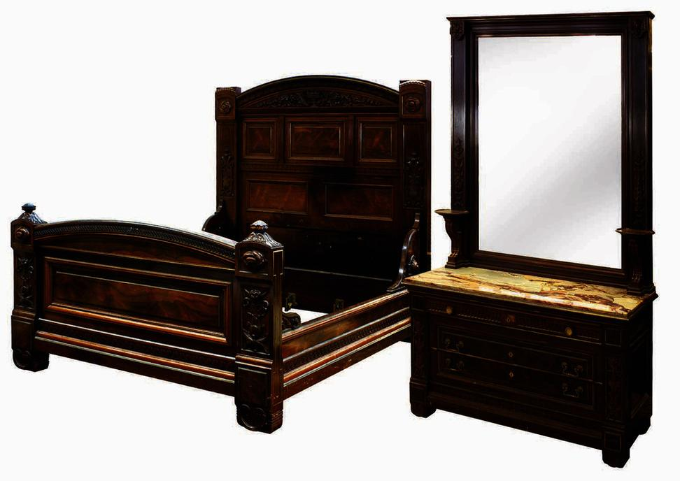 This Victorian bedroom suite, created in 1878 for James C.  Flood by Pottier & Stymus for an astounding $78,000, comes to auction at Clars on May 20th, 2012.