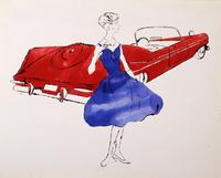 Andy Warhol, Female Fashion Figure, 1950s