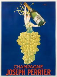 "Joseph Stall, Champagne Joseph Perrier, 1920.  Stall's fanciful ""grape lady"" expresses the fun that champagne brings to every occasion."