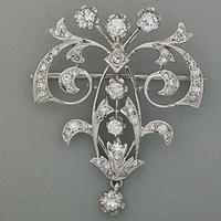 14k White Gold Diamond Arabesque Pin Pendant, 20th C., $500-$700