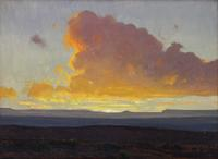 James Swinnerton (American, 1875-1974) Desert Sunrise, oil on canvas, 11 1/4 x 15 1/4 inches, presale estimate $3,000 – 5,000, sold for $6,250