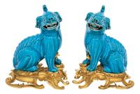 Pair of Gilt-Bronze Mounted Chinese Turquoise Glazed Porcelain Fu Lions 18th Century, the mounts 19th century.