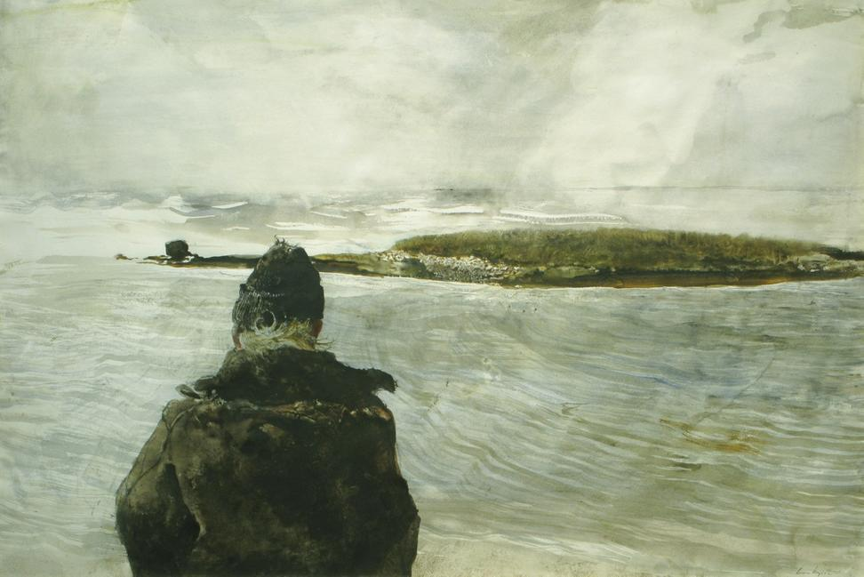 "Andrew Wyeth (1917-2009) Davis Straits, 1982.  Watercolor on paper 26 ¾"" x 40"".  Signed Lower Right: Andrew Wyeth."