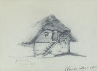 Lot 62: Claude Monet, Maison au toit de chaume, Gainneville, pencil, 1857.  Estimate $25,000 to $35,000.