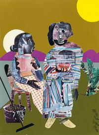 Lot 65: Romare Bearden, Melon Time, collage, 1967.  Estimate $80,000 to $120,000.