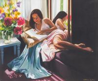 LEOVID SILVA, Colombian (b.  1954), Woman Reading Next to a Mirror, oil on canvas, signed, 21 1/2 x 25 1/2 inches, Est: $1,500 - $2,500