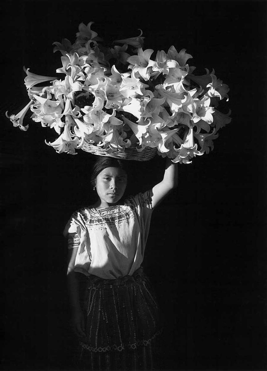 "Flor Garduño, ""Basket of Light (Canasta de luz, Sumpango, Guatemala)"", 1989.  Gelatin silver print.  SBMA, Museum purchase with funds provided by Mr.  and Mrs.  Thomas Amory."