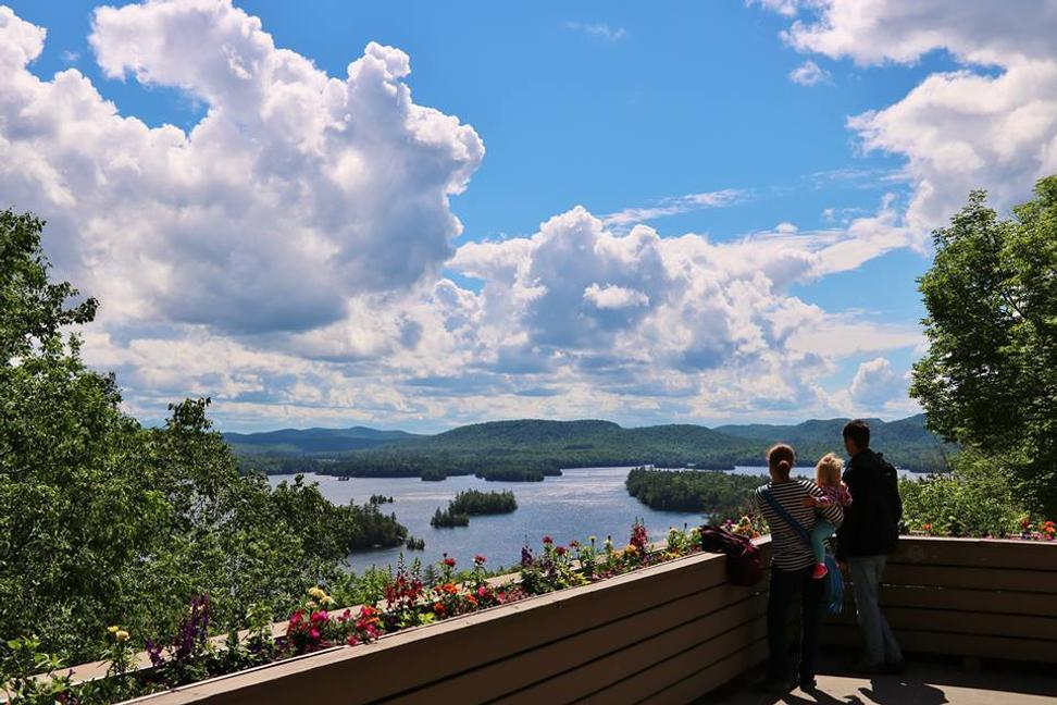 View of Blue Mountain Lake from the Adirondack Experience: The Museum on Blue Mountain Lake.  Photography by ADKX.  Courtesy Adirondack Experience.