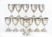 Lot 729, a set of Southern sterling goblets by Schofield Co., estimated at $3,000-$4,000.
