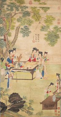 """Gathering Beneath the Sycamore Tree"" by Qiu Ying (1495-1552).  Signed Qiu Ying.  One artist seal, seven emperors' seals, six collectors' seals and colophon by Gao Shiqi.  Gianguan Auctions Lot 72.  Value: $1.3M."