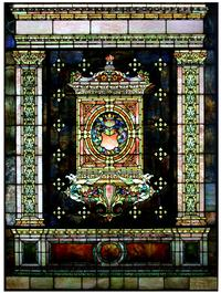 An 8-foot library window with fiery orange and green panels, griffins, cornucopias and a knight's helmet over a shield, 103 by 76 inches, earned $66,550.