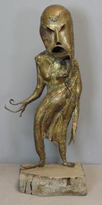 "Reinhold brass sculpture entitled ""Le Peril Blanc."""