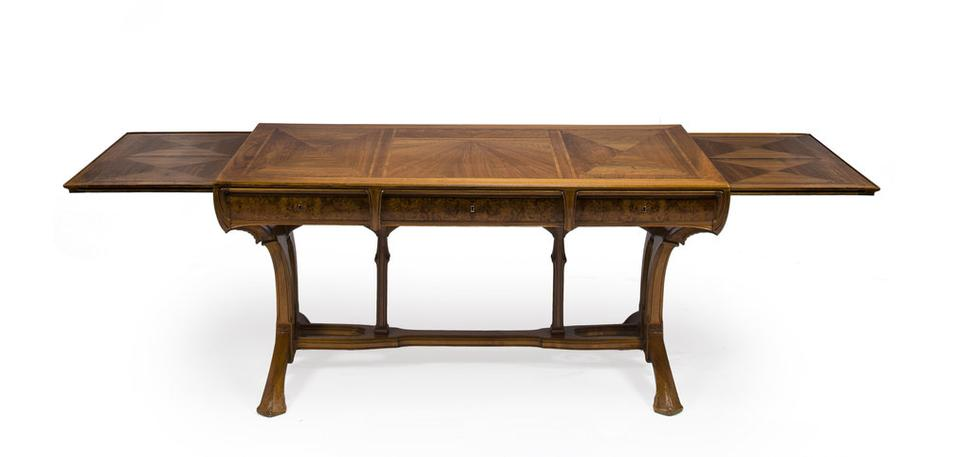 A Lucien Lévy Dhurmer And Edouard Collet Carved And Burled Walnut Parquetry  Extension Desk Designed