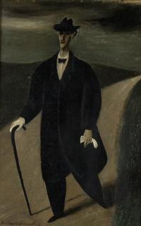 Gertrude Abercrombie (1909-1977), Man with Gloves on a Road, Oil on Masonite.  Est.  $$2,000-4,000.