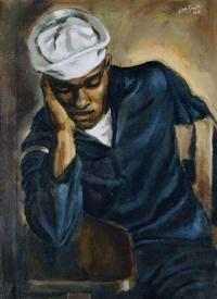Hughie Lee-Smith, Navy Sailor, 1944, oil on canvas, 24 x 18 inches, courtesy Arthur Primas Collection