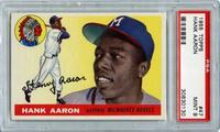 1955 Topps #47 Hank Aaron card, graded PSA 9 Mint, the highest graded card from the Cardbull Collection and the one of the finest examples in existence (minimum bid: $5,500).
