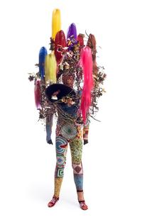 Nick Cave.  Soundsuit, 2015.  Mixed media, including synthetic hair, ceramic birds, strung beads, wire, metal, and mannequin, 108 x 43 x 40 in.  Courtesy of the artist and Jack Shainman Gallery, New York.  © Nick Cave.  Photo: James Prinz Photography