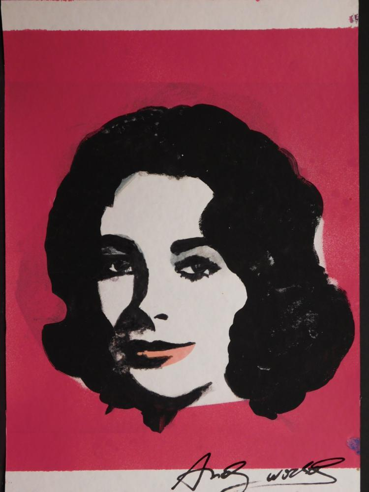 Lovely Mixed Media Painting On Paper Of The Late Screen Legend Elizabeth Taylor,  Attributed To Andy Warhol (est. $80,000 $100,000). Design Ideas