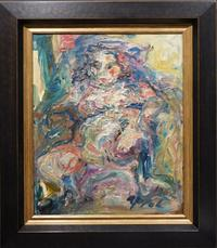 Untitled (Female Nude) oil on canvas attributed to Karel Appel (Dutch, 1921-2006), artist signed and framed (est.  $20,000-$30,000).