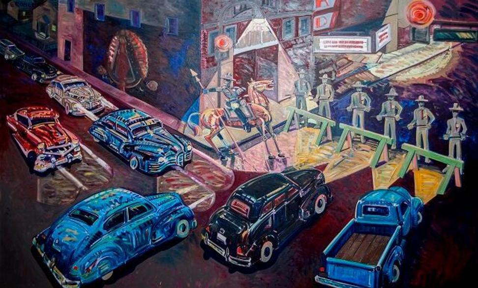 Frank Romero, The Closing of Whittier Boulevard.