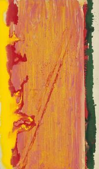 Frank Bowling, Irv Sandler's Visit, acrylic on canvas, 1977.  Sold April 7, 2016 for $81,250, an auction record for the artist.  (Pre-sale estimate: $35,000 to $50,000)