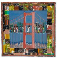 Faith Ringgold, Double Dutch on the Golden Gate Bridge, story quilt from the Woman on a Bridge series, acrylic on canvas with painted, dyed and pieced fabric, 1988.  Sold April 7, 2016 for $209,000.  (Pre-sale estimate: $150,000 to $250,000)