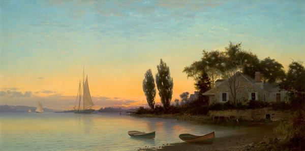FRANCIS AUGUSTUS SILVA (American, 1835-1886).  The Old House by the River, 1881.  Oil on canvas.  21 x 42 inches .