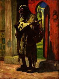 Among the fine art to be offered from the Fromer estate will be this Gordon Coutts' (Californian, 1868-1937) oil on canvas, Musician at a Red Doorway which carries an estimate of $3,000-$5,000.