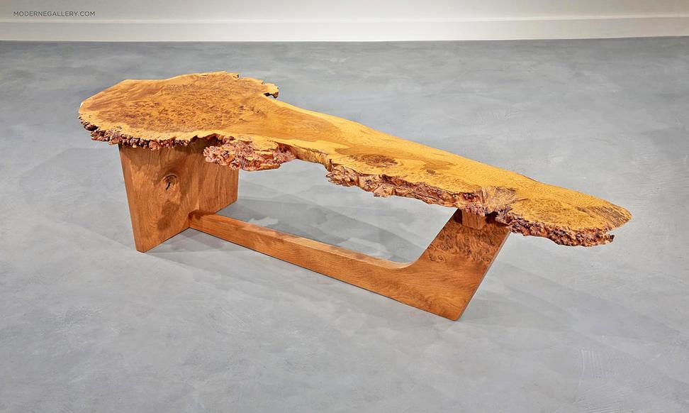 RARE ENGLISH OAK BURL SLED BASED COFFEE TABLE, 1982. VERY RARE SLED
