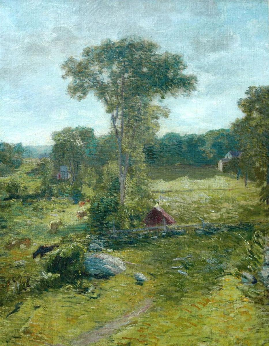Connecticut watercolor artists directory - The Spring House Windham C 1910 1919 J Alden Weir