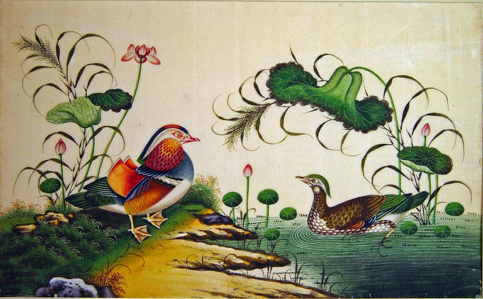 One from A Fine Set of Twelve China Trade Watercolours of Birds on Pith Paper, circa 1840-60.  Earle Vandekar of Knightsbridge Inc., White Plains, NY