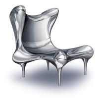 "Riemann Chair in Mirror Polished Stainless Steel, American, 21st century, c.  2011.  Edition of 10, 37 x 33.5 x 35.5"".  Craig Van Den Brulle"