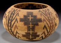 Mono Lake Paiute Polychrome Coiled Basket, c.  1930 (estimate: $50,000+).