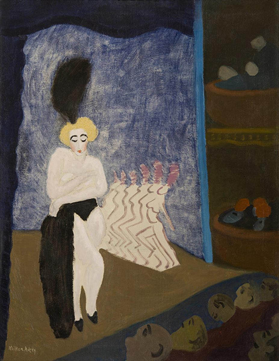 Milton Avery (1885–1965), Burlesque, 1936, oil on canvas, 36 × 28.  The Huntington Library, Art Collections, and Botanical Gardens.  © 2015 The Milton Avery Trust / Artists Rights Society (ARS), New York.